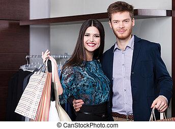 夫婦, 是, 在, the, 購物中心