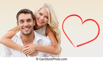 夫婦, 有, 淺褐色的背景, 樂趣, 在上方, 愉快