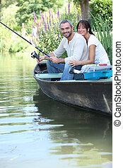 夫婦, 河捕魚, 小船