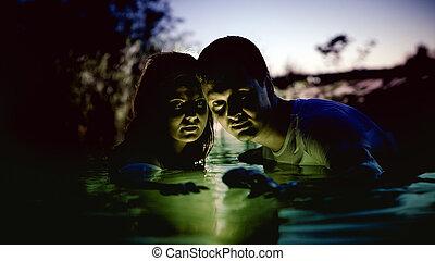 夫婦, 河, 魔術, 年輕, 發光