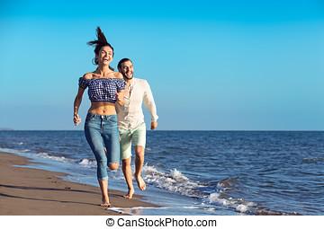 夫婦, 海灘, 跑, 愉快