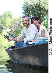 夫婦, 湖, 小船, 釣魚