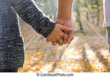 夫婦, ......的, 人和婦女, 扣留手, 上, a, 步行
