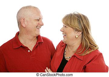 夫婦, 笑, 一起