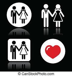 夫婦, 結婚式, アイコン, s, 白
