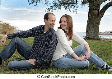 夫婦, 結婚, 公園, 年輕