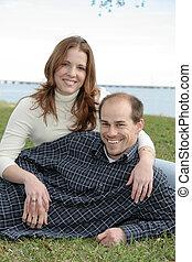 夫婦, 結婚, 公園, 年輕 成人