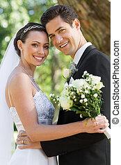 夫婦, 花園, 愉快, 結婚, 新近