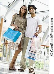 夫婦, 購物, 在, 購物中心