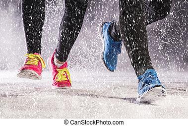 夫婦, 跑, 在, 冬天