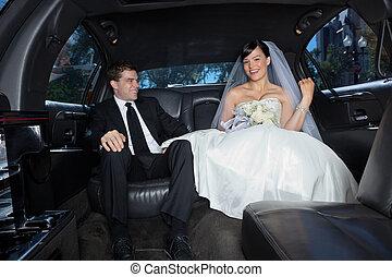 夫婦, 轎車, 愉快
