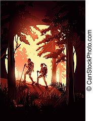 夫婦, 透過, 森林, 遠足
