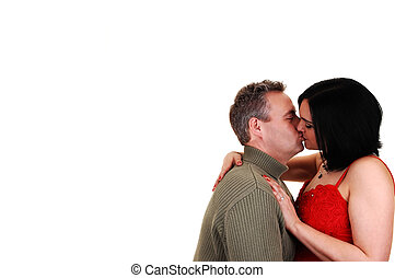 夫婦, kissing.
