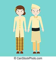 夫婦,  Malaysian, 傳統, 馬來西亞, 矢量, 穿戴, 圖畫, 衣服