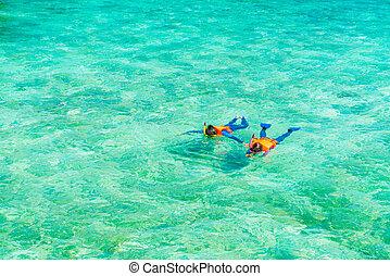 夫婦, snorkeling, 在, 熱帶, 馬爾代夫, 島, .