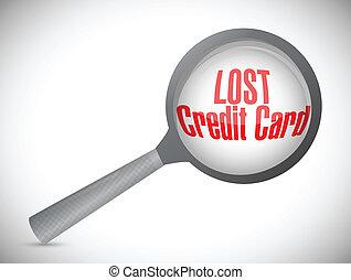 失われた, イラスト, クレジット, 調査, 下に, カード
