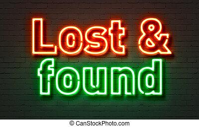 失われた, &, 壁, ネオン 印, バックグラウンド。, 見いだされた, れんが