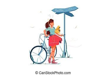失われた, 混乱, 自転車, 女