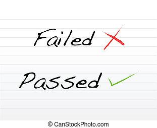 失敗される, 渡される, 書かれた