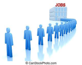 :, 失業者, 仕事, 中心, 人々
