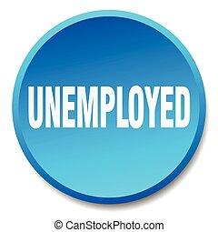 失業者, 青, ラウンド, 平ら, 隔離された, 押しボタン