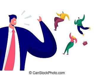 失業, 平ら, 概念, 失業者, 従業員, 却下しなさい, 発砲, イラスト, 上司, 上, characters., マネージャー, ベクトル, businessman., 怒る, 解雇, 叫ぶこと, 漫画, 発射される