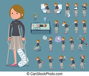 头发, 妇女, 疾病, 短, 套间, 类型