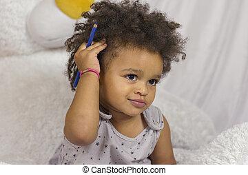 头发, 漂亮, 感人, 卷曲, 孩子