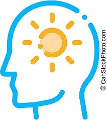 头脑, 人, 矢量, 图标, 侧面影象, 太阳发光