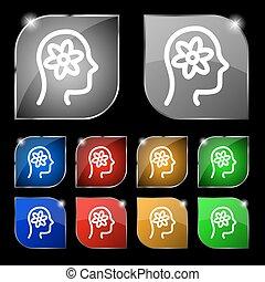 头装置, 齿轮, 十, 标志。, glare., 按钮, 矢量, 古代石壁画, 色彩丰富, 图标
