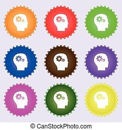 头装置, high-quality, 齿轮, 图标, 大, 标志。, 色彩丰富, 矢量, 多样化, 古代石壁画, buttons.