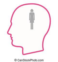 头, 侧面影象, pictogram, 隔离, 女性, 男性, 图标