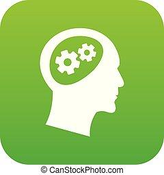头, 图标, 绿色, 齿轮, 数字