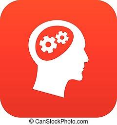 头, 图标, 齿轮, 红, 数字
