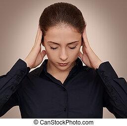 头, 妇女握住, 商业, 思想, 努力, 黑的背景, 手, 集中