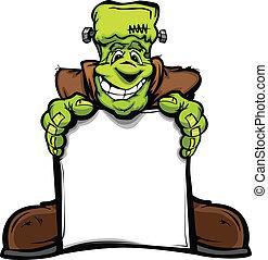 头, 怪物, 形象, 万圣节前夜, 签署, 矢量, 握住, frankenstein, 卡通漫画, 开心