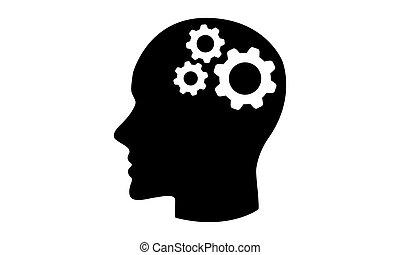 头, 概念, 齿轮, 图标, 矢量