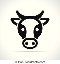头, 白的背景, 母牛, 图标