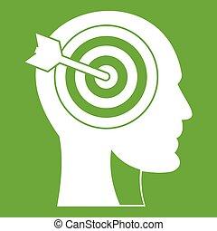 头, 绿色, 目标, 人类, 图标