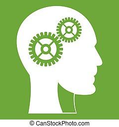 头, 绿色, 齿轮, 人类, 图标