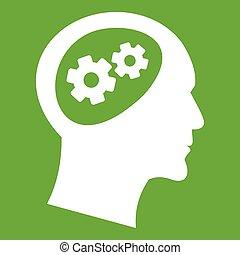 头, 绿色, 齿轮, 图标