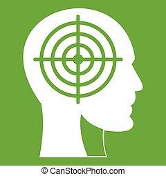 头, 绿色, crosshair, 人类, 图标