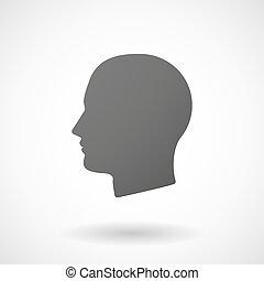 头, 背景, 图标, 男性的怀特