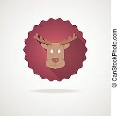 头, 鹿, 白的背景, 图标