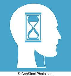 头, hourglass, 白色, 图标