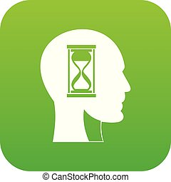 头, hourglass, 绿色, 图标, 数字