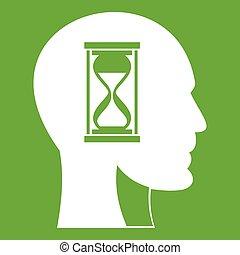 头, hourglass, 绿色, 图标