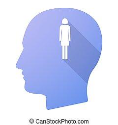 头, pictogram, 长期, 女性, 遮蔽, 男性, 图标