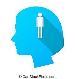 头, pictogram, 长期, 女性, 遮蔽, 男性