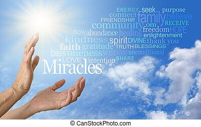 奇跡, 労働者, 単語, 雲